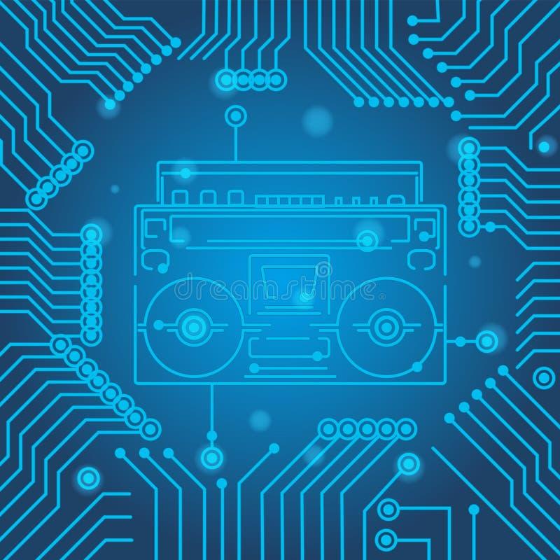 Textura azul del fondo de la tecnolog?a de alta tecnolog?a Reproductor de casete mínimo del modelo de la placa de circuito Ejempl libre illustration