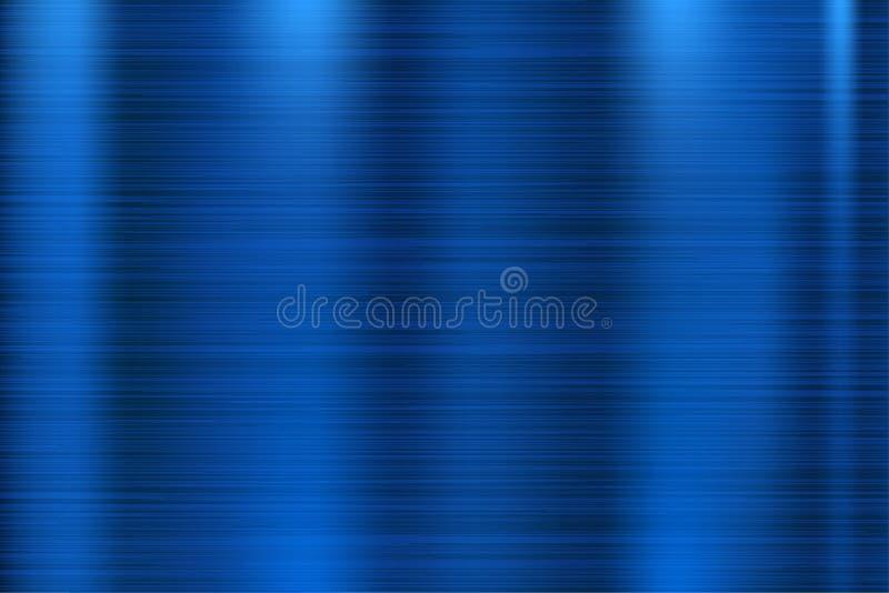Textura azul do metal Superfície 3d brilhante riscada ilustração do vetor