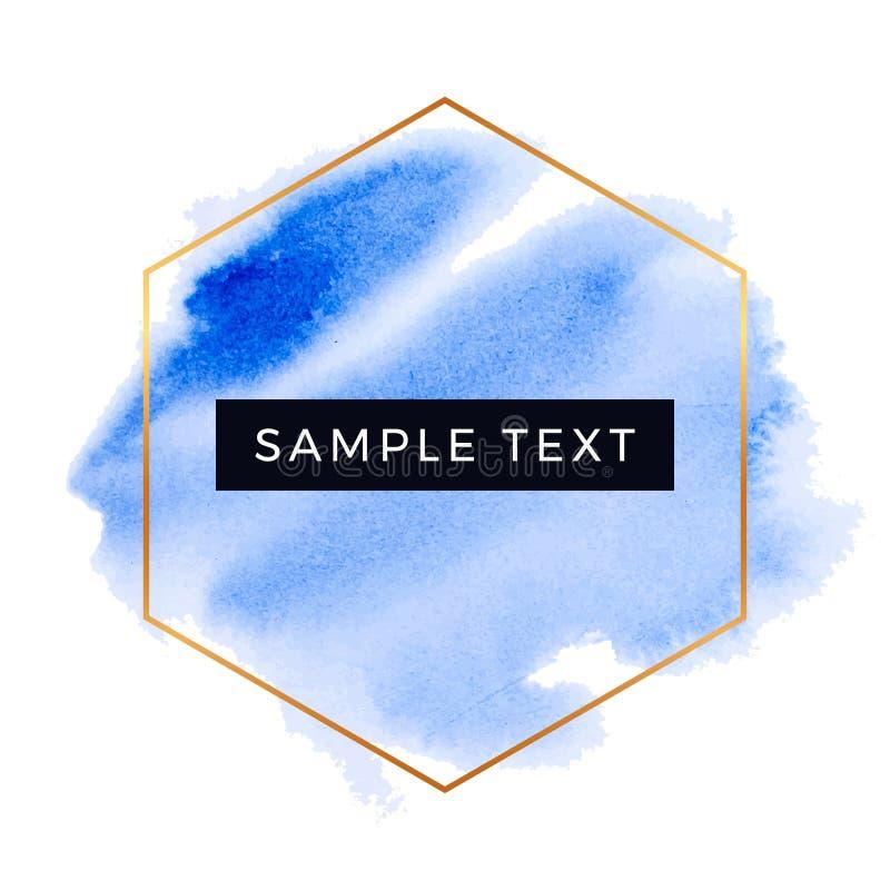 Textura azul en el fondo blanco, chapoteo de la acuarela con el marco del hexágono, extracto de la tinta flúida, movimientos seco stock de ilustración