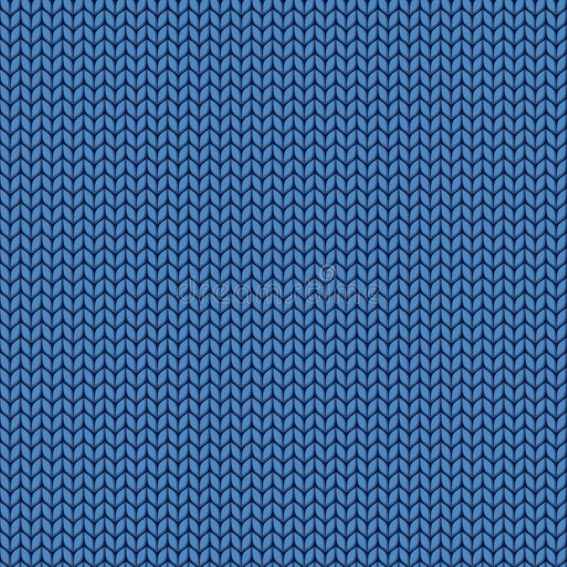 Textura azul hecha punto Punto del modelo inconsútil de las lanas puntadas ilustración del vector
