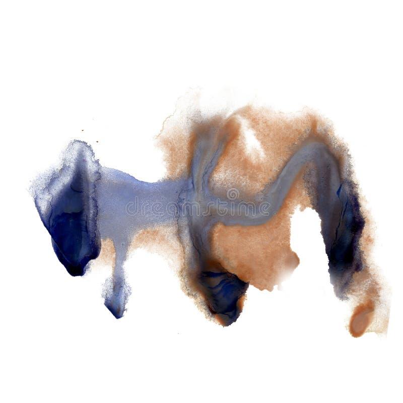 Textura azul macra de la mancha de la mancha marrón de la acuarela líquida del tinte del watercolour de la salpicadura de la tint libre illustration