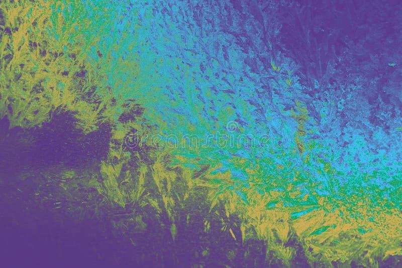Textura azul, púrpura, amarilla abstracta con los cristales de hielo imagen de archivo libre de regalías