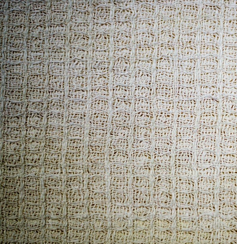 Textura blanca de la toalla de la tela de la galleta de la materia textil fondo, cocina imagen de archivo