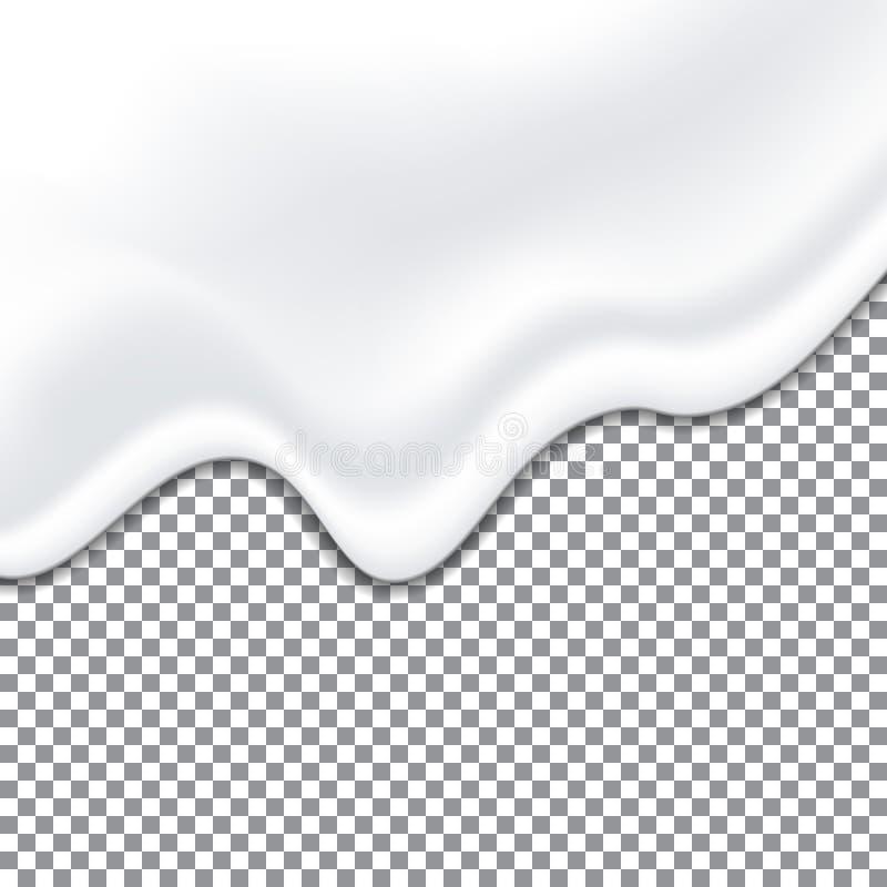 Textura blanca del yogur realista Salsa de la mayonesa Textura cremosa líquida en fondo transparente Vector libre illustration