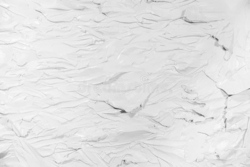 Textura blanca, detalle de acrílico blanco de la pintura para trazar en pintura al óleo de la lona y textura 3D foto de archivo libre de regalías