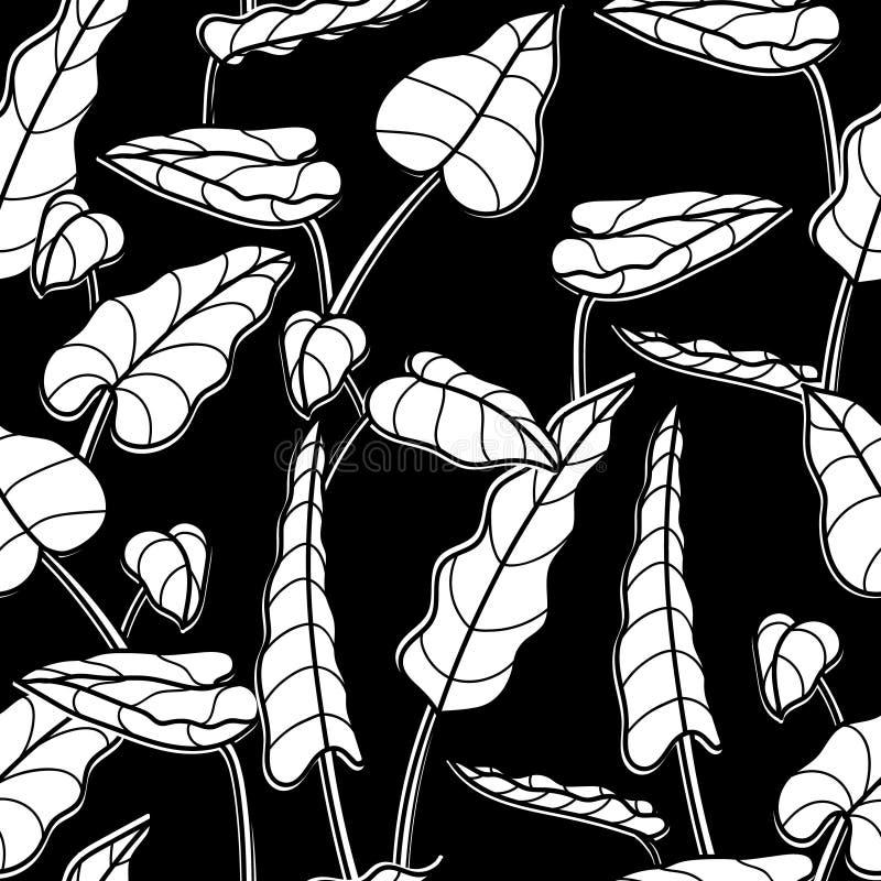 Textura blanca negra del diseño gráfico de vector de hojas tropicales Modelo inconsútil de plantas exóticas Textura a imprimir ilustración del vector