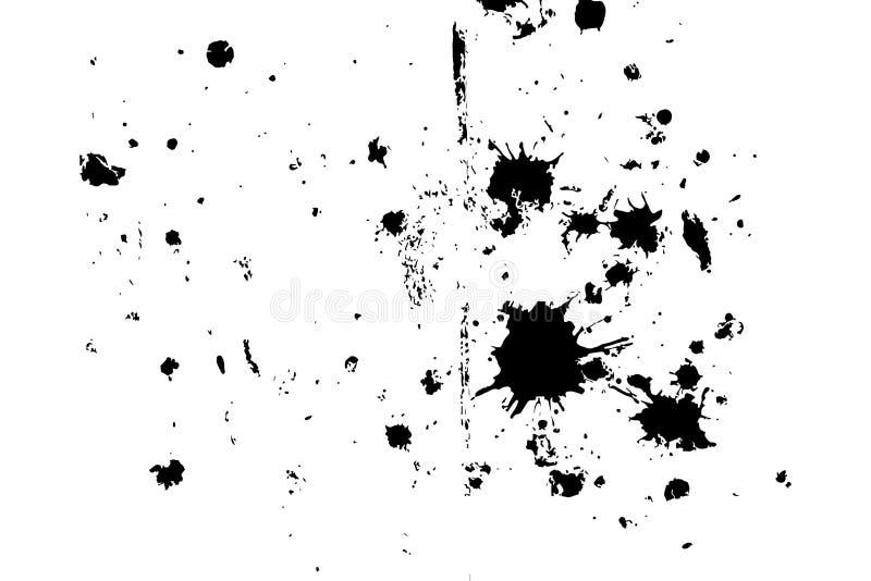 Textura blanco y negro apenada del vector del grunge de semitono - sucia salpica de la pintura y del yeso en el piso viejo ilustración del vector