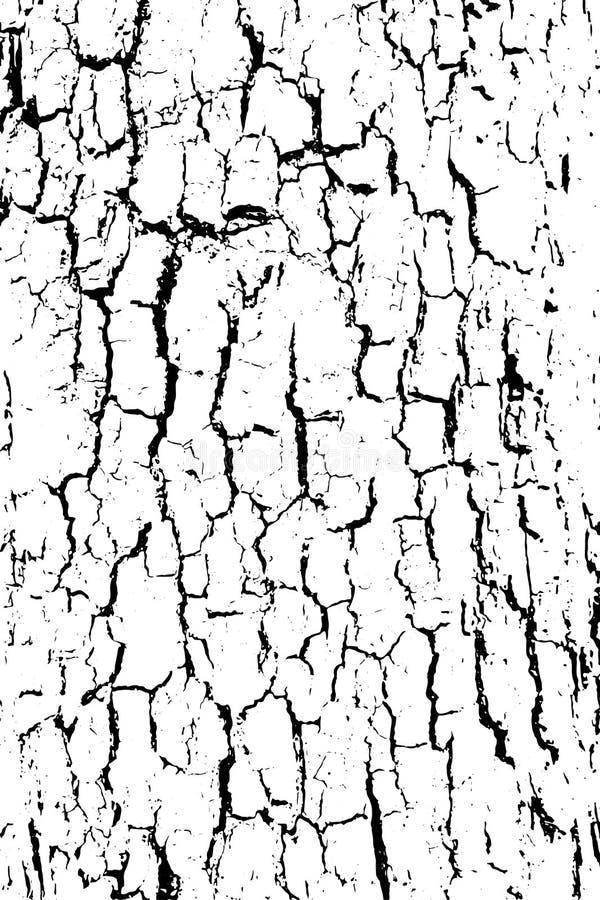Textura blanco y negro apenada del vector del grunge de semitono - vieja textura de madera de la corteza ilustración del vector