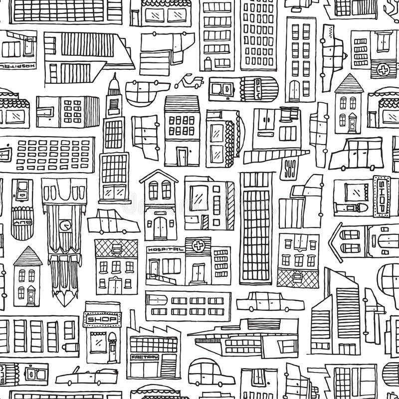 Textura blanco y negro de la ciudad de la historieta para el colorante adulto stock de ilustración