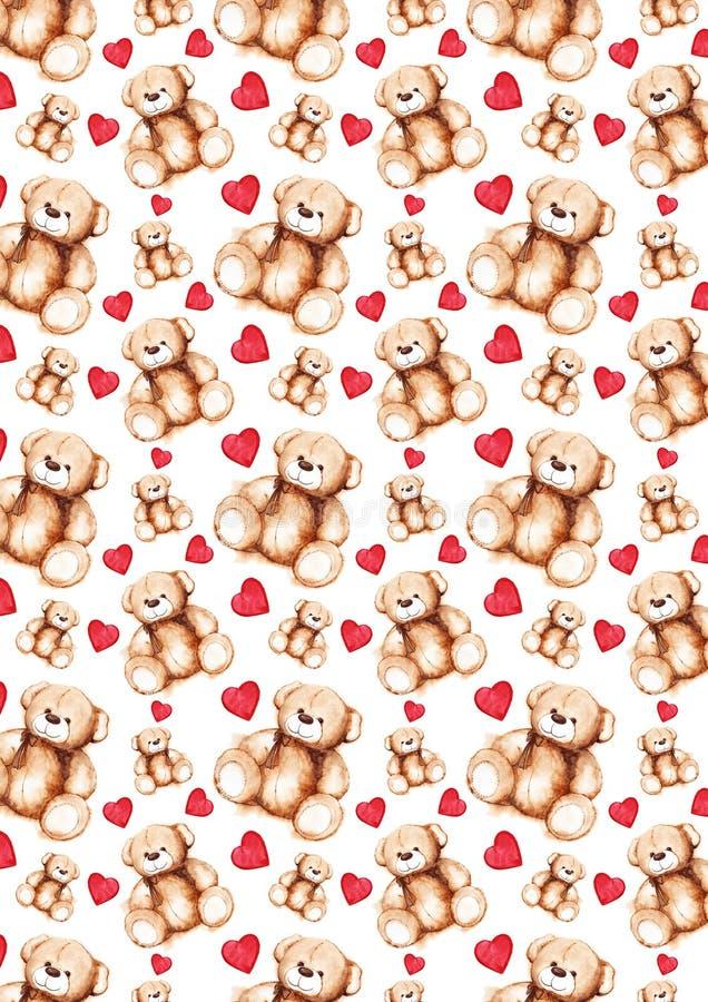 Textura bonita do teste padrão do fundo do dia do ` s de Teddy Bear Saint Valentine dos desenhos animados ilustração stock