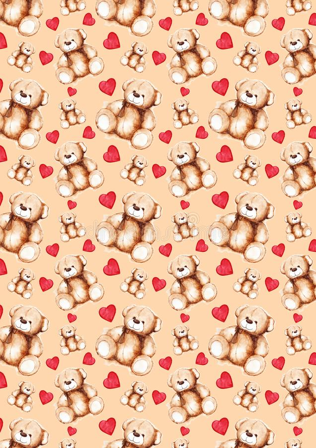Textura bonita do teste padrão do fundo do dia do ` s de Teddy Bear Saint Valentine dos desenhos animados ilustração royalty free