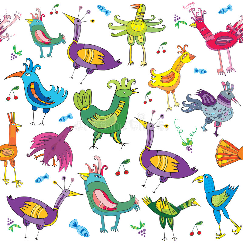 Textura bonito colorida dos pássaros ilustração stock
