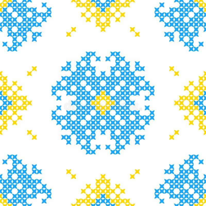 Textura bordada inconsútil de flores abstractas stock de ilustración