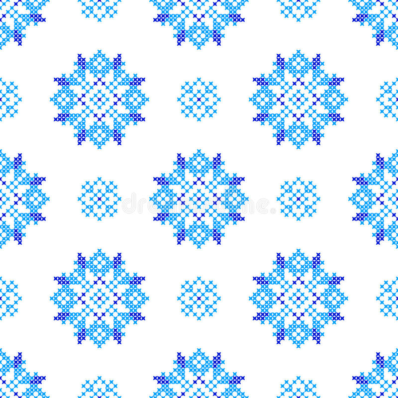 Textura bordada inconsútil de modelos azules abstractos ilustración del vector