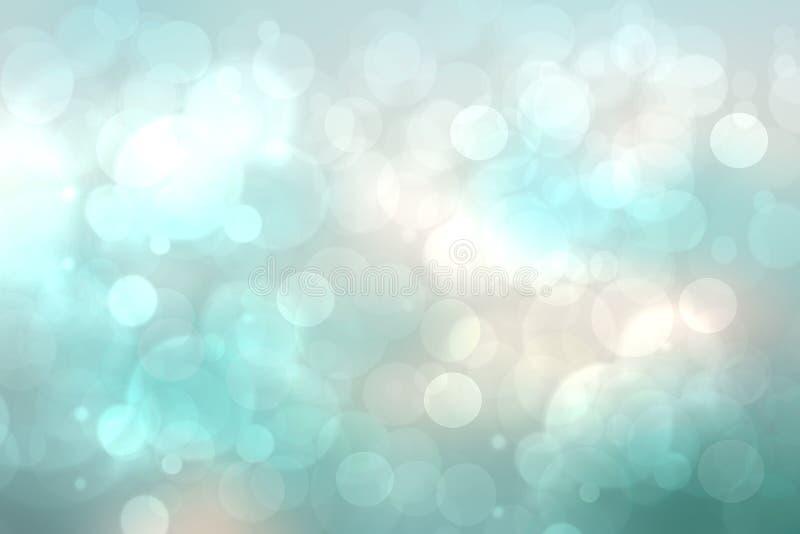 Textura borrosa brillante del fondo de la turquesa ligera azul de la pendiente del extracto con las luces circulares del bokeh Co foto de archivo libre de regalías