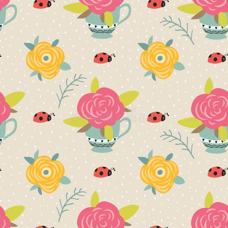 Textura botánica inconsútil del fondo de la flor del vector, ejemplos detallados de las flores Garabatee el estilo, estampado de  stock de ilustración