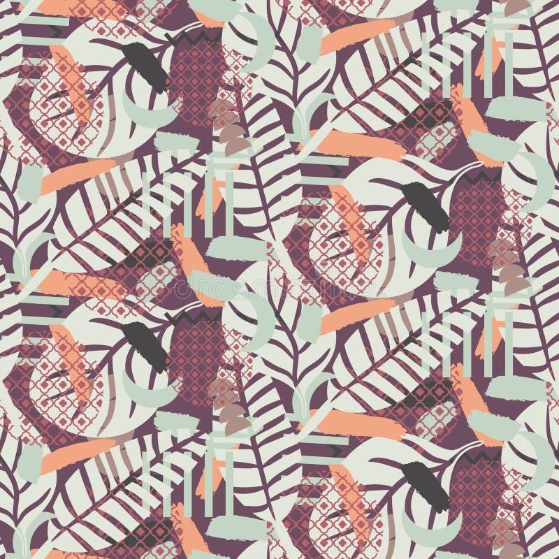 Textura botânica Painterly do fundo A cor pastel tonificou o teste padrão sem emenda ilustração stock