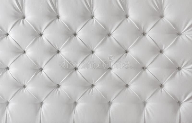 Textura branca de estofamento de couro, fundo do teste padrão fotografia de stock