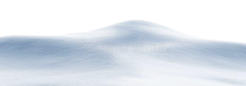 Textura branca de neve limpa Snowdrift isolado em fundo branco Formato amplo fotografia de stock