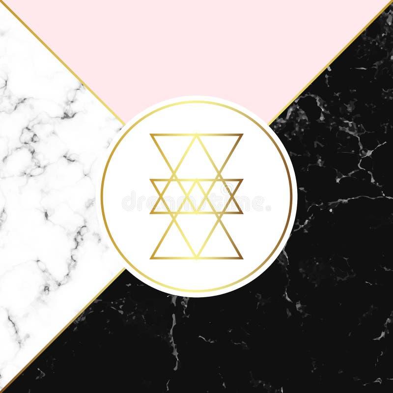 Textura branca e preta do mármore ou da pedra e fundo cor-de-rosa Cartaz geométrico na moda Cartão abstrato moderno Molde para se ilustração royalty free