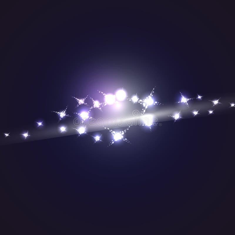 Textura brilhante de incandescência brilhante da energia mágica cósmica azul do sumário com a imagem da galáxia, o universo, estr ilustração royalty free