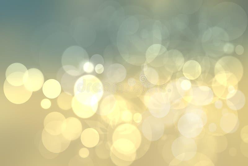 Textura brillante amarilla del fondo del bokeh del oro festivo abstracto ilustración del vector