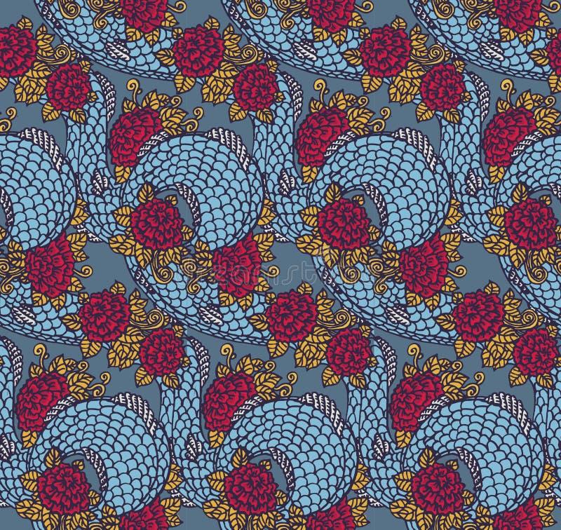 Textura china inconsútil del dragón stock de ilustración