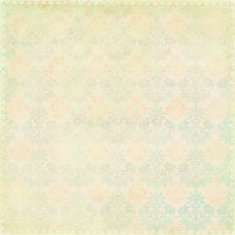 Textura chique gasto verde do damasco do vintage fotos de stock royalty free