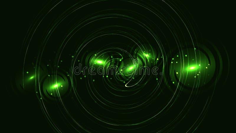 Textura circular verde con el efecto del bokeh, contexto potente hermoso apacible enérgico mágico que brilla intensamente del ext stock de ilustración