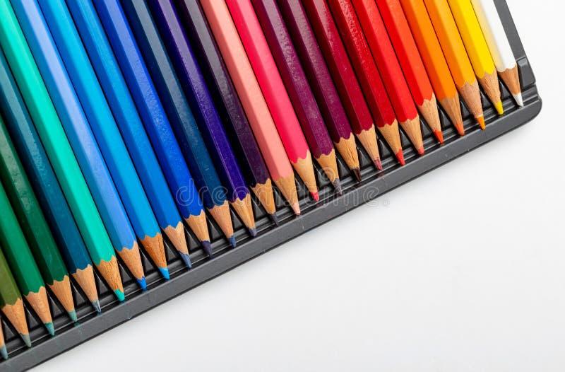 Textura coloreada de los l?pices foreground Colores de la primavera y del verano Comienzo de la escuela, de clases Papel pintado  fotos de archivo libres de regalías