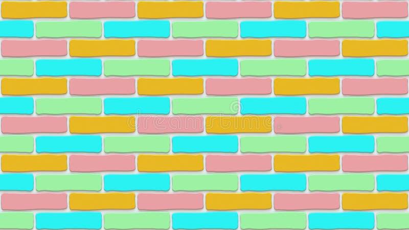 Textura colorida de la pared de ladrillo Fondo vacío El vintage practica obstruccionismo Interior del diseño del sitio Contexto p stock de ilustración