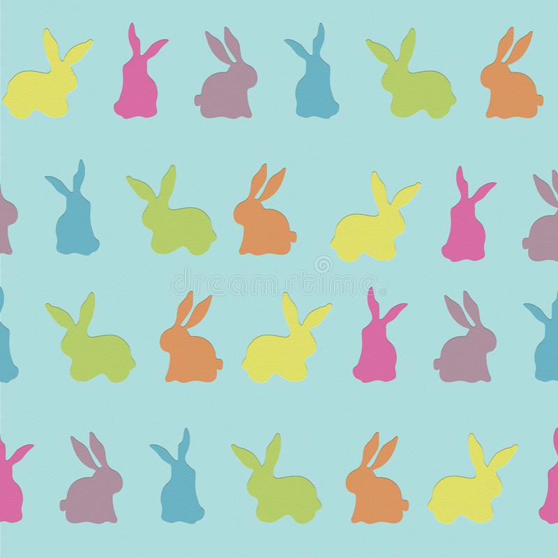 Textura colorida del fondo del vector del modelo de Bunny Rabbit Cutouts Seamless Repeat libre illustration