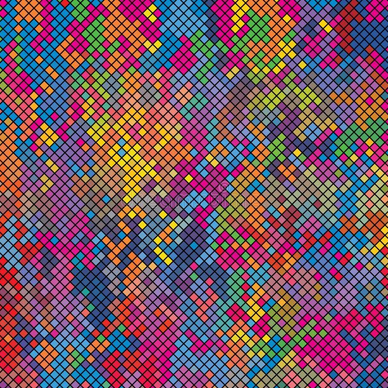 Textura colorida do teste padrão do fundo de Diamond Pixel Tiles Concept Vetora ilustração royalty free