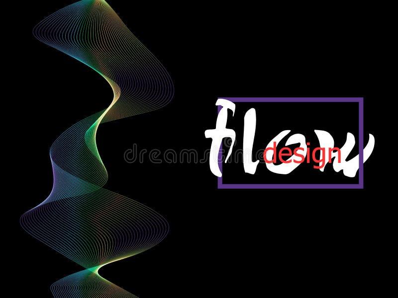 Textura colorida flúida en fondo oscuro Las formas del flujo diseñan Fondo líquido de la onda Forma abstracta del flujo 3d Colore libre illustration