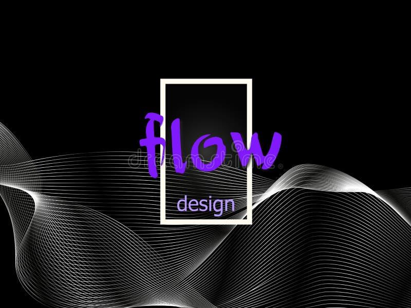 Textura colorida flúida en fondo oscuro Las formas del flujo diseñan Fondo líquido de la onda Forma abstracta del flujo 3d Colore stock de ilustración