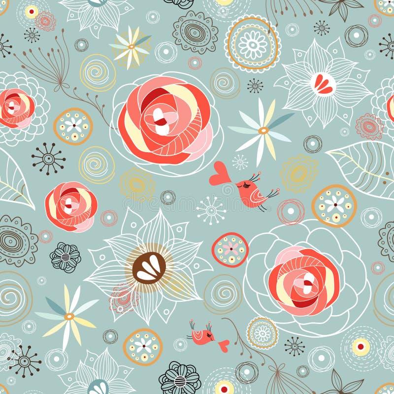 Textura com rosas e pássaros ilustração stock