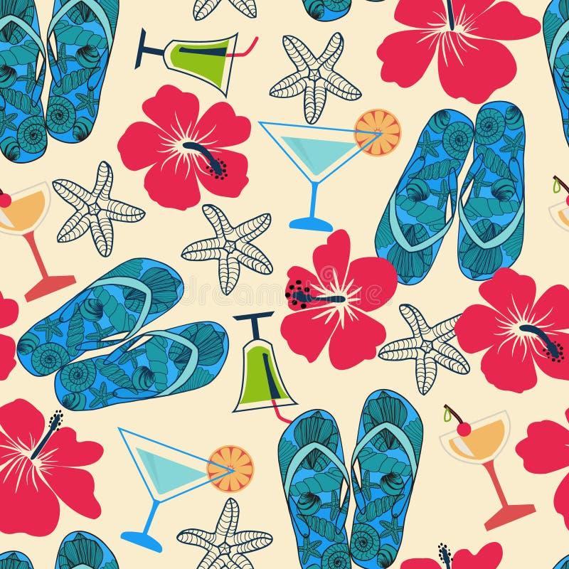 Textura con los objetos de la playa: hibisco, cóctel, estrella de mar, tirón libre illustration