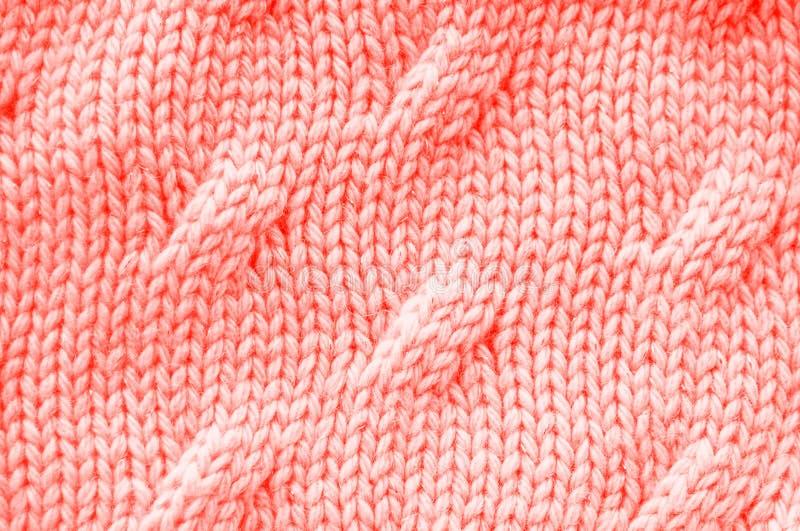 Textura coral de vida da cor Knitted fotografia de stock royalty free