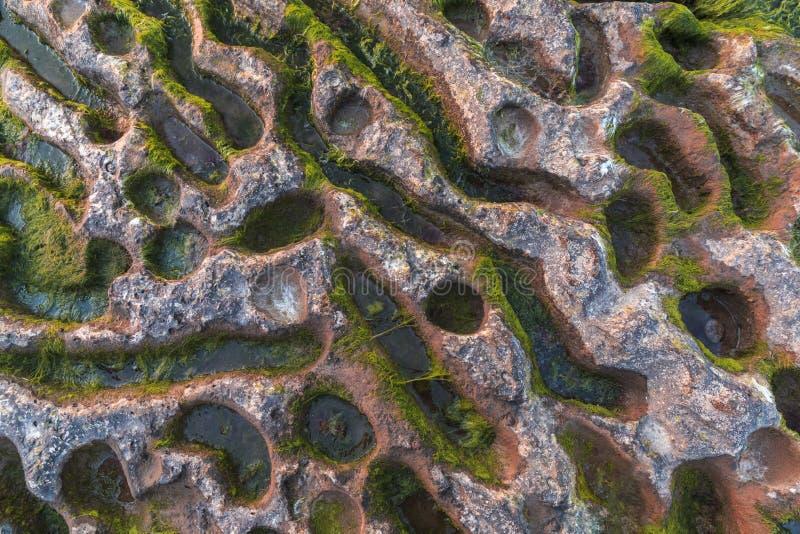 A textura da água da traça da rocha ao longo dos anos Mar Cáspio AZ fotos de stock