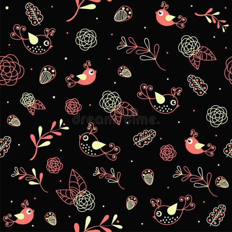 Textura da amostra com flores e pássaros ilustração do vetor