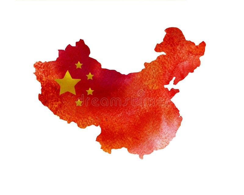 Textura da aquarela do mapa de China Bandeira chinesa ilustração royalty free