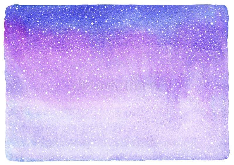 Textura da aquarela do Natal com neve de queda, floco de neve ilustração stock
