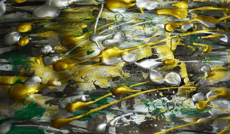Textura da aquarela do verde da prata do ouro da pintura, máscaras vívidas verdes douradas brancas escuras de prata, textura abst fotografia de stock royalty free