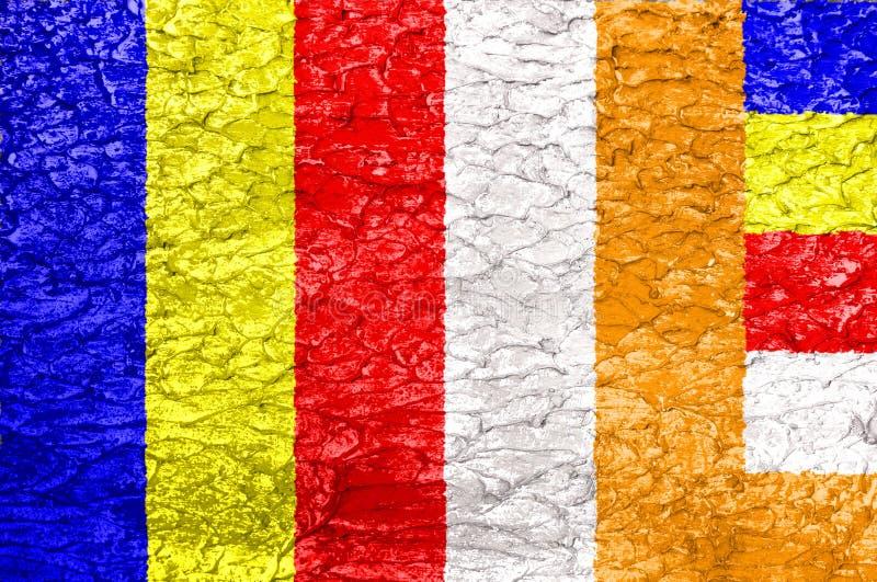 Textura da bandeira do budismo fotografia de stock