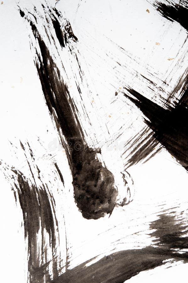 Textura da caligrafia japonesa e do pulverizador branco da cor fotografia de stock