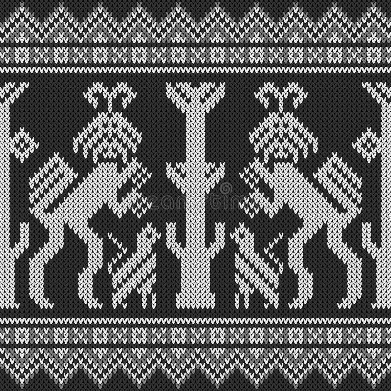 Textura da camiseta do Balinese Textura tradicional de Indonésia Teste padrão de confecção de malhas sem emenda em Gray Colors ilustração stock