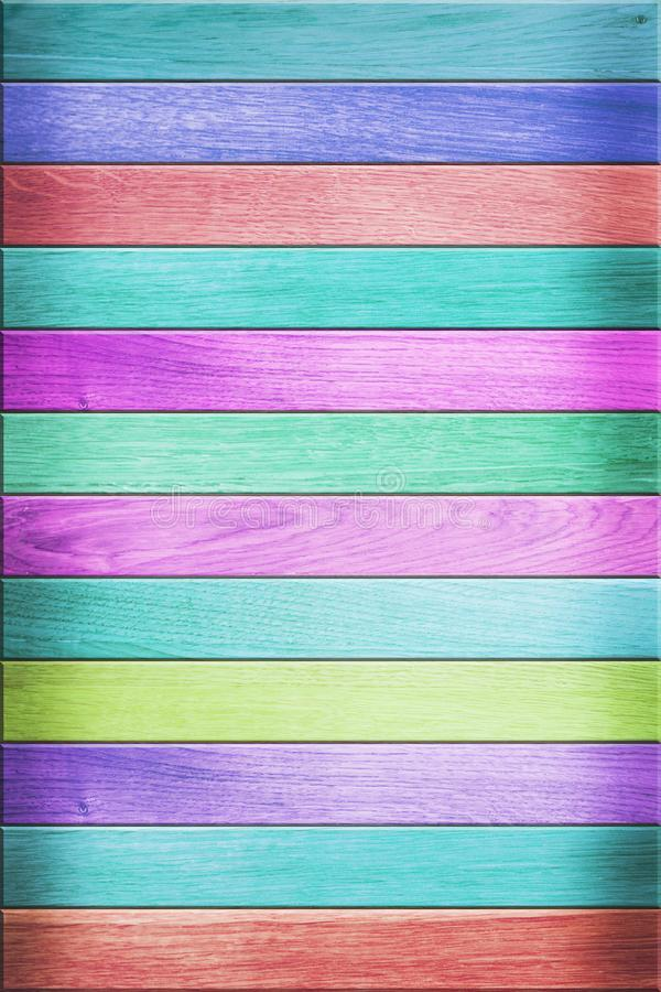 Textura da cerca de madeira colorida foto de stock