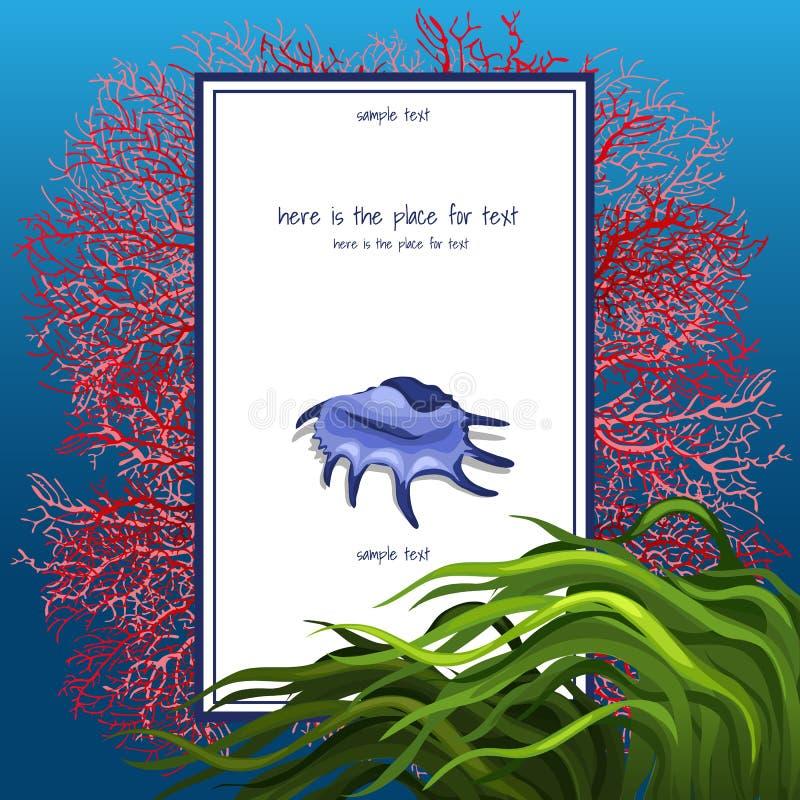 Textura da concha do mar com algue e o cartão vertical ilustração do vetor