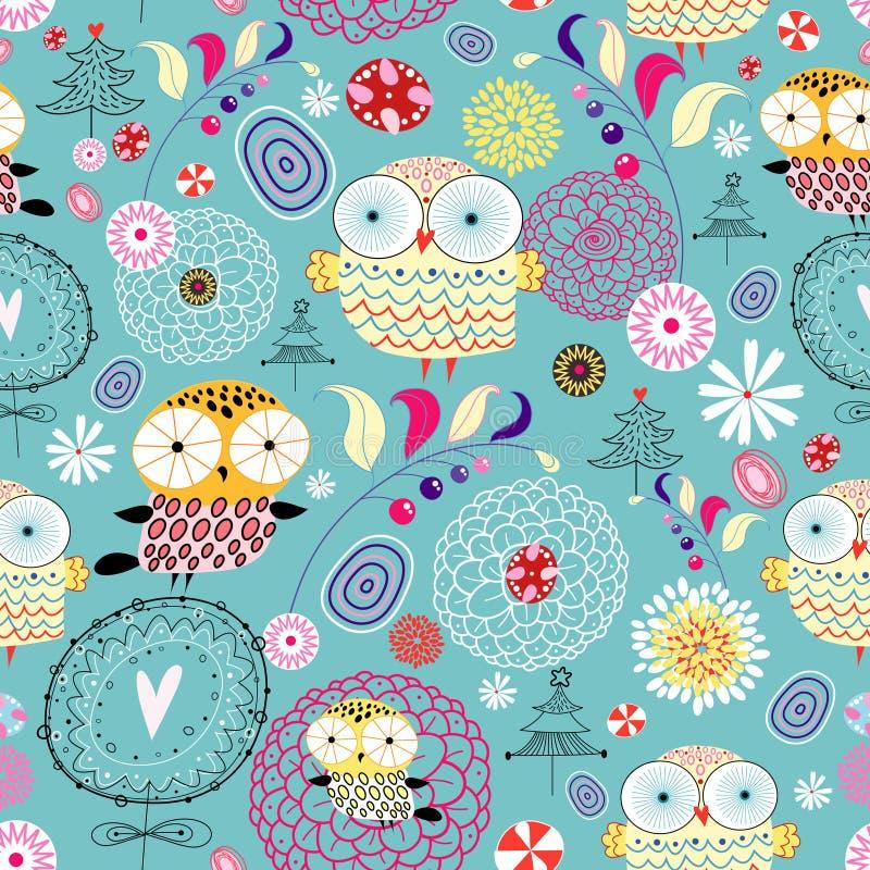 Textura da flor com corujas ilustração do vetor