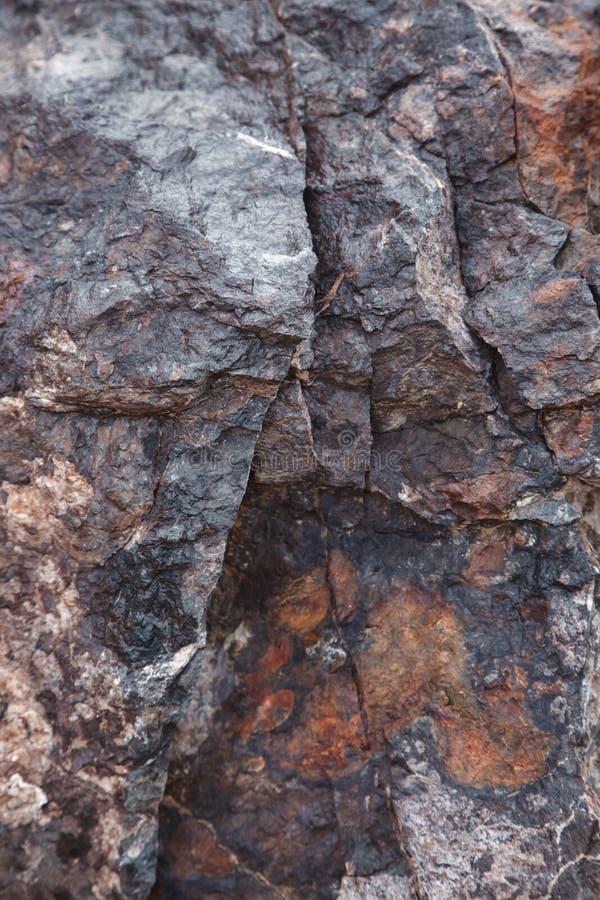 A textura da pedra marrom escura molhada com musgo close-up da rocha, fundo foto de stock royalty free